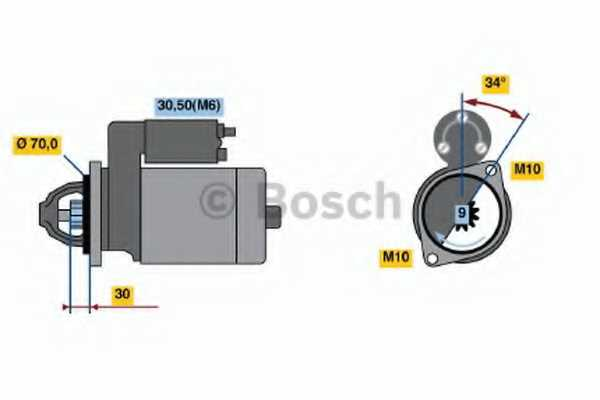 Стартер 1,1кВт для MERCEDES C, CLC, CLK, E, G, SLK, SPRINTER <b>BOSCH 0 986 020 350</b> - изображение