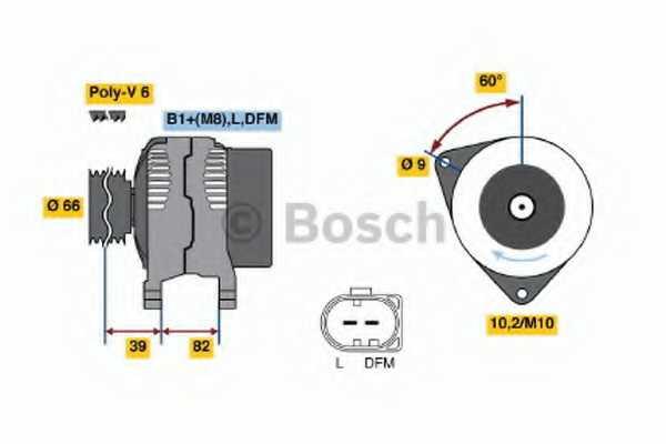 Генератор 120А для AUDI A4, A6, A8, ALLROAD / SKODA SUPERB / VW PASSAT <b>BOSCH 0 986 044 330</b> - изображение