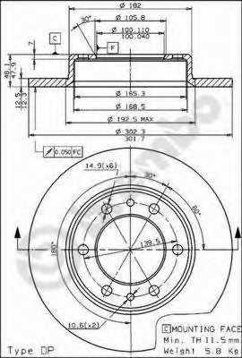 Тормозной диск BREMBO 08.4504.20 - изображение