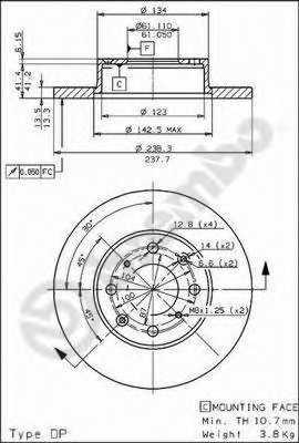 Тормозной диск BREMBO 08.5456.10 - изображение