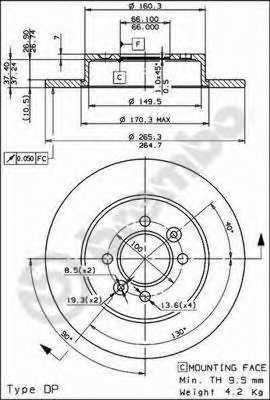 Тормозной диск BREMBO 08.5645.60 - изображение