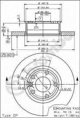 Тормозной диск BREMBO 08.5768.10 - изображение