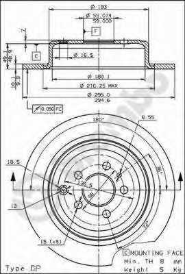 Тормозной диск BREMBO 08.5898.10 - изображение