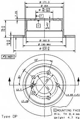 Тормозной диск BREMBO 08.6853.81 - изображение