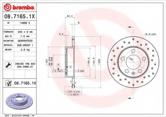 Тормозной диск BREMBO 08.7165.1X - изображение