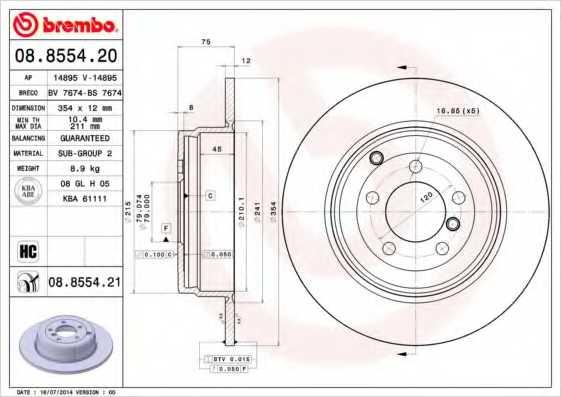 Тормозной диск BREMBO 08.8554.21 - изображение