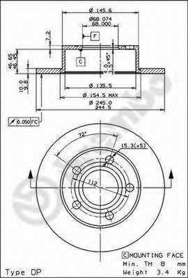 Тормозной диск BREMBO 08.9083.11 - изображение