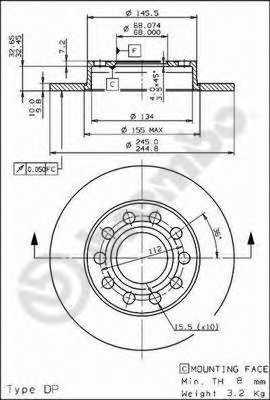 Тормозной диск BREMBO 08.9136.11 - изображение