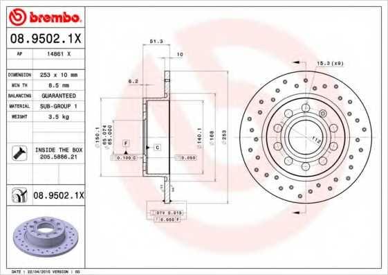 Тормозной диск BREMBO 08.9502.1X - изображение