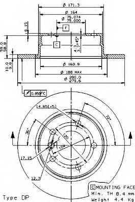 Тормозной диск BREMBO 08.9787.11 - изображение