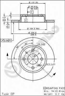 Тормозной диск BREMBO 08.5211.10 - изображение