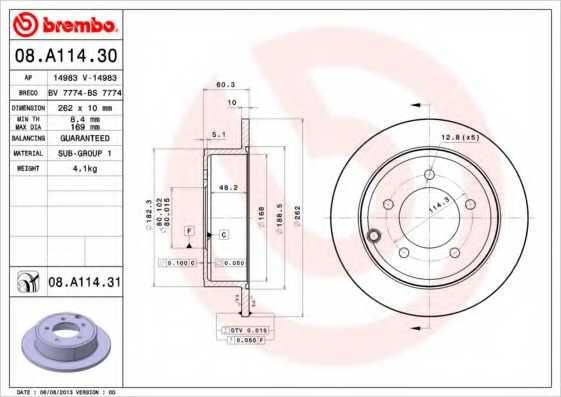 Тормозной диск BREMBO 08.A114.31 - изображение