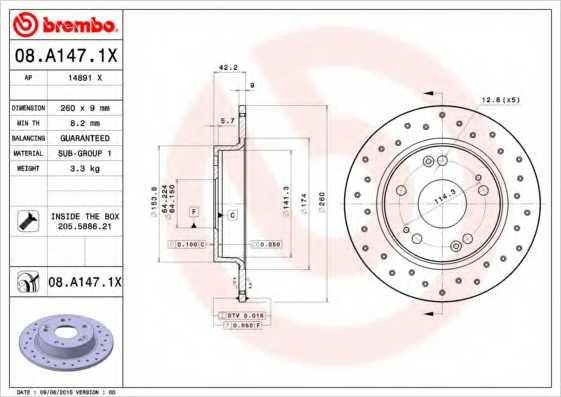 Тормозной диск BREMBO 08.A147.1X - изображение