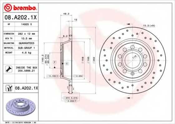 Тормозной диск BREMBO 08.A202.1X - изображение