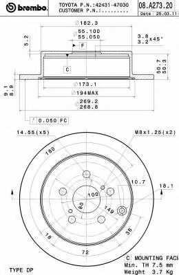 Тормозной диск BREMBO 08.A273.21 - изображение