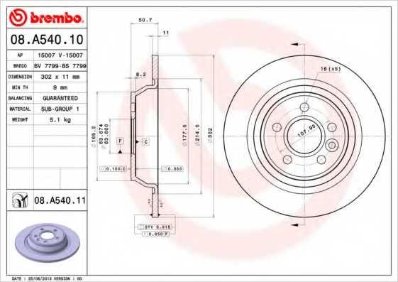 Тормозной диск BREMBO 08.A540.11 - изображение
