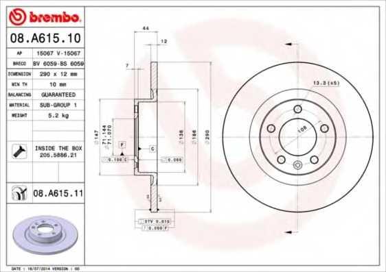 Тормозной диск BREMBO 08.A615.11 - изображение