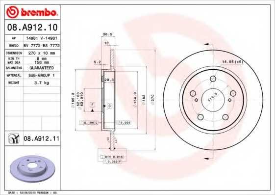 Тормозной диск BREMBO 08.A912.11 - изображение