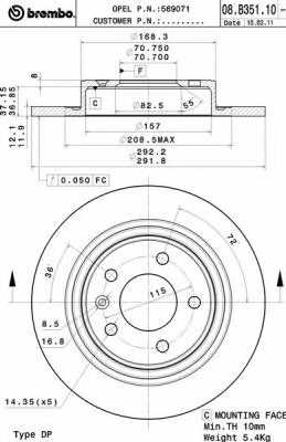 Тормозной диск BREMBO 08.B351.11 - изображение