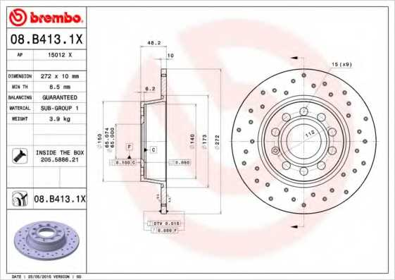Тормозной диск BREMBO 08.B413.1X - изображение
