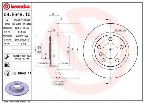 Тормозной диск BREMBO 08.B649.11 - изображение