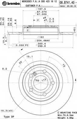 Тормозной диск BREMBO 08.B741.41 - изображение