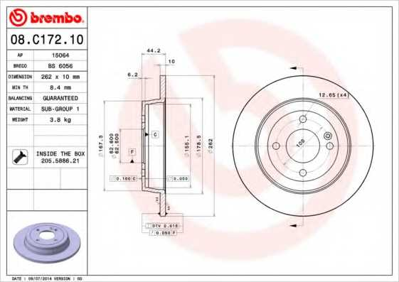 Тормозной диск BREMBO 08.C172.10 - изображение