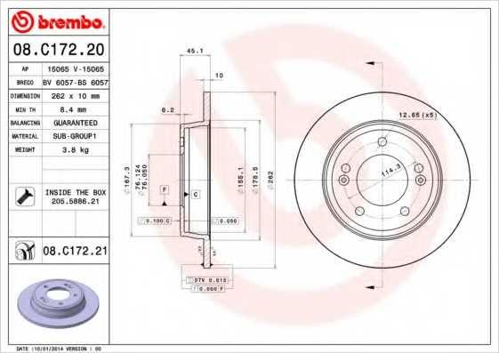 Тормозной диск BREMBO 08.C172.20 - изображение