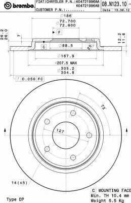 Тормозной диск BREMBO 08.N123.11 - изображение