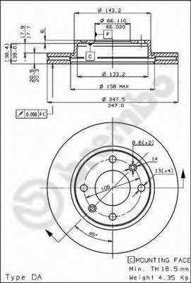 Тормозной диск BREMBO 09.3125.10 - изображение