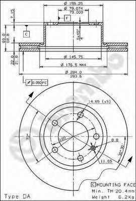 Тормозной диск BREMBO 09.4486.20 - изображение
