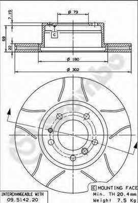 Тормозной диск BREMBO 09.5142.76 - изображение