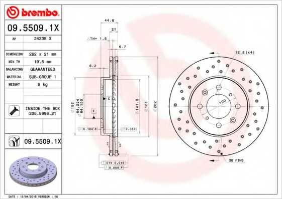 Тормозной диск BREMBO 09.5509.1X - изображение