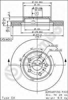 Тормозной диск BREMBO 09.5622.10 - изображение