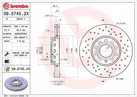 Тормозной диск BREMBO 09.5745.2X - изображение
