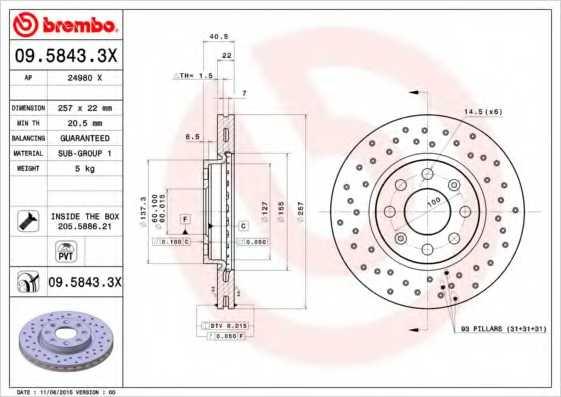 Тормозной диск BREMBO 09.5843.3X - изображение
