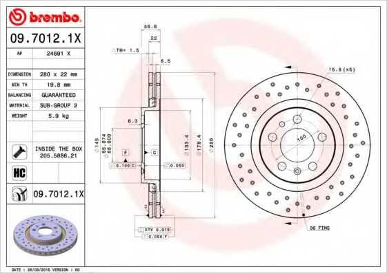 Тормозной диск BREMBO 09.7012.1X - изображение