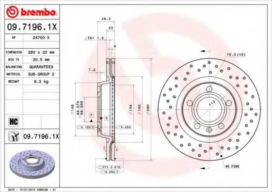 Тормозной диск BREMBO 09.7196.1X - изображение