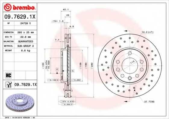 Тормозной диск BREMBO 09.7629.1X - изображение