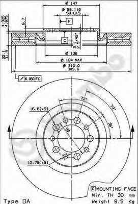 Тормозной диск BREMBO 09.7680.21 - изображение