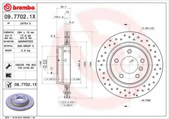 Тормозной диск BREMBO 09.7702.1X - изображение