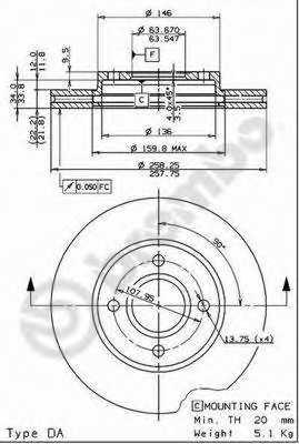 Тормозной диск BREMBO 09.7806.11 - изображение