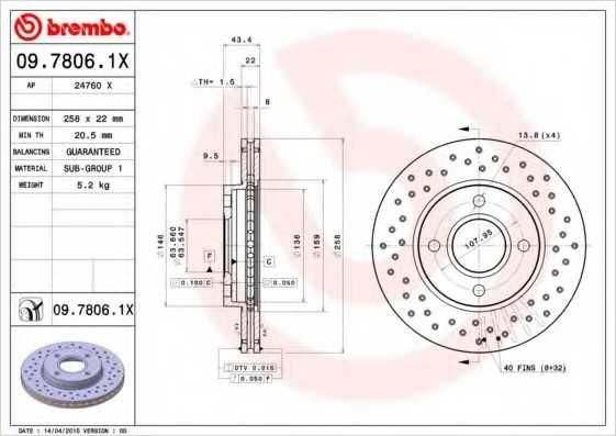 Тормозной диск BREMBO 09.7806.1X - изображение