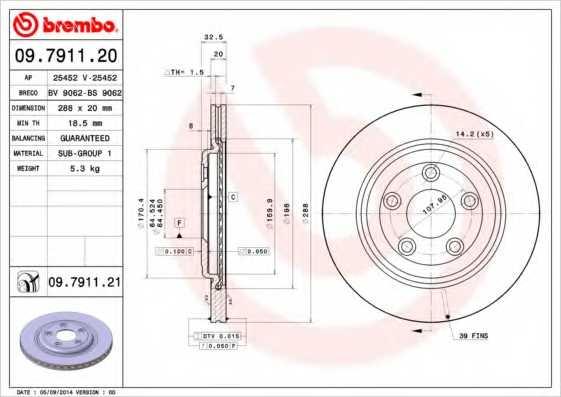 Тормозной диск BREMBO 09.7911.21 - изображение