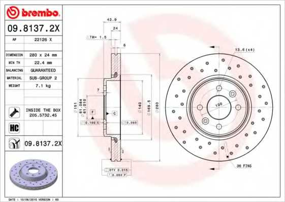 Тормозной диск BREMBO 09.8137.2X - изображение