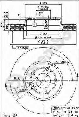 Тормозной диск BREMBO 09.8404.11 - изображение