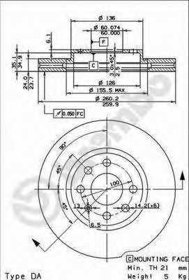 Тормозной диск BREMBO 09.8601.11 - изображение