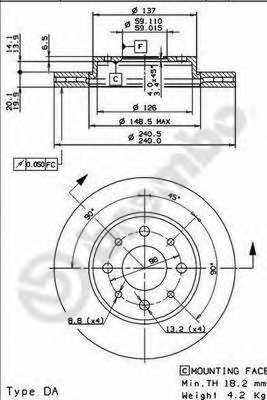 Тормозной диск BREMBO 09.8616.11 - изображение