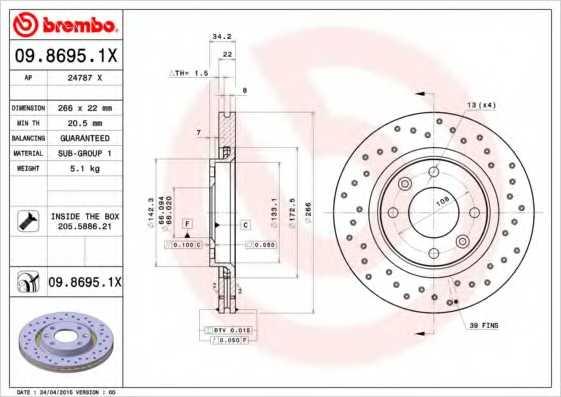 Тормозной диск BREMBO 09.8695.1X - изображение