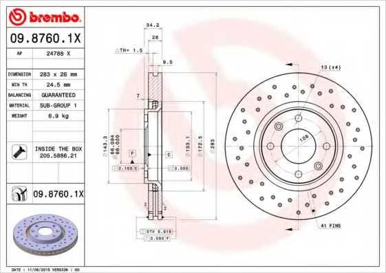 Тормозной диск BREMBO 09.8760.1X - изображение
